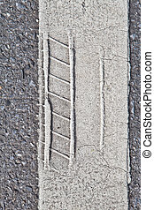 Close up tire track on road line