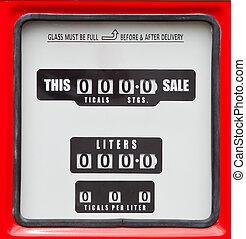 old analog gas pump meter  - old analog gas pump meter