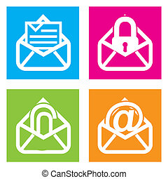email icons over squares background. vector illustration