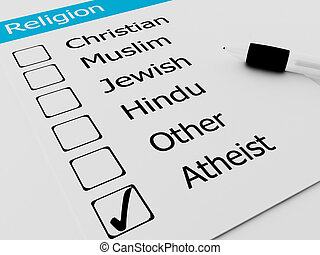 Religious Atheist or Agnostic on checkmark
