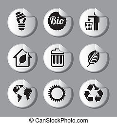 ecology icons over gray background vector illustration