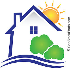 House sun and bushes logo - House sun and bushes icon vector