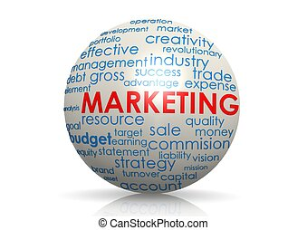 Marketing sphere - Rendered artwork with white background