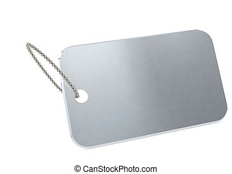 Metal plate tag - Rendered artwork with white background