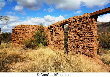 Adobe wall  - remains of a hospital from the wild west era.