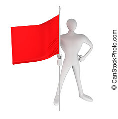 3d person with red flag