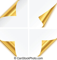 Gold Paper Corner Folds - Set of four gold paper corner...