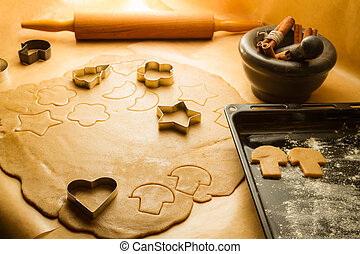 Preparation of gingerbread cookies for Christmas decorations
