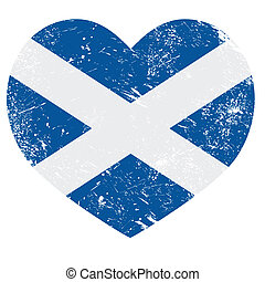 Scotland retro heart flag - Scottish vintage flag - grunge...