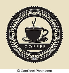 coffee label over beige background vector illustration