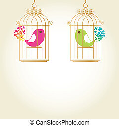 Cute love birds in birdcage - Cute birds in birdcage