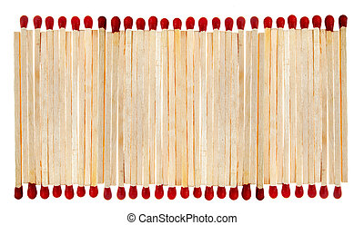 Match sticks in a row isolated on white
