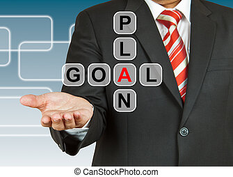 Businessman hand drawing Plan and Goal