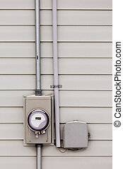 Smart grid power supply meter and phone line drop - Modern...