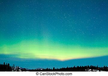 boréal, hiver, nord, aurore, lumières, paysage