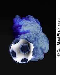 flying soccer ball in the blue flame