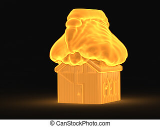 3d house in the fire concept