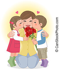 Boy and girl kissing mom - Boy and girl giving mom kisses on...