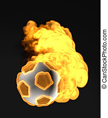 flying soccer ball in the fire