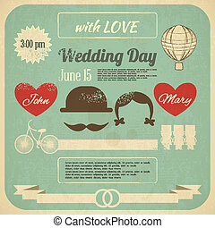 Wedding Invitation in Retro Infographics Style. Vintage...