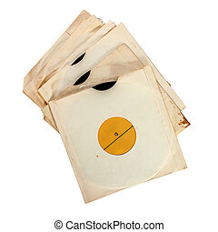 Old vinyl records in paper covers isolated over white