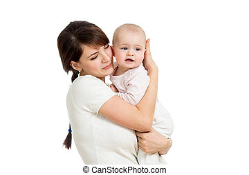 Mother hugging her baby isolated