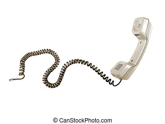 Vintage telephone receiver isolated