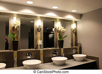 Upscale bathroom in hotel - Upscale bathroom with...