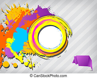 Grunge blank banner with multicolored splashes on the...