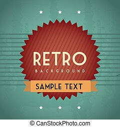 retro background - retro illustration with ribbon over...