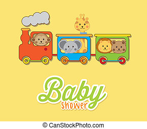 baby animals with train over yellow background baby shower
