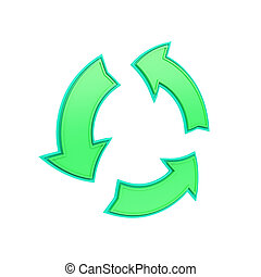 green, shiny recycling symbol made from arrows