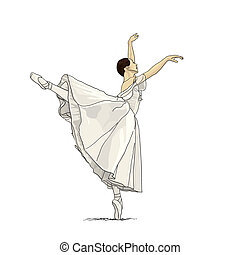 Ballerina - Beautiful dancer posing on white background