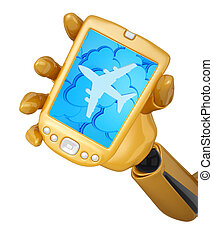 Gold 3d robotic hand hold a gold mobile phone with 3d clouds and silhouette of jet airliner icon.