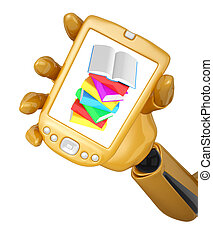 Gold 3d robotic hand hold a gold mobile phone with stack of...