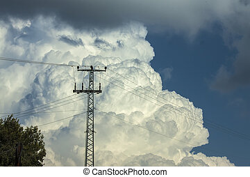 powerlines - electrical powerlines with clouds