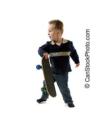 Little boy skateboarder