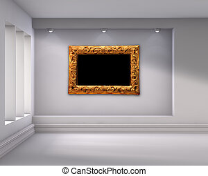 3d empty niche with spotlights and picture frame for exhibit...