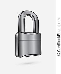 chromium padlock over white background vector illustration