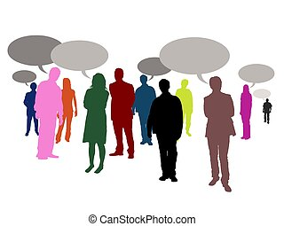 speaking people - Illustrated crowd of people with speech...