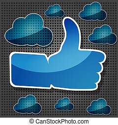 "blue ""Like"" symbol with transparency blue clouds on the metallic background"