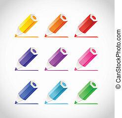 Kollektion, Crayons, färg, Spår
