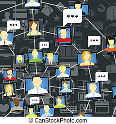 Global social network with talking people