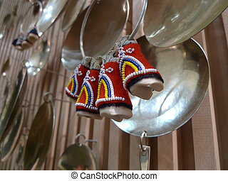 sami decoration at inari, lapland, finland