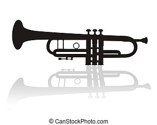 trumpet - Illustration of trumpet with shadow.