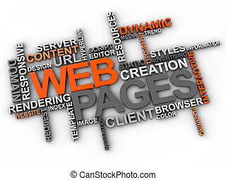 web pages word cloud over white background