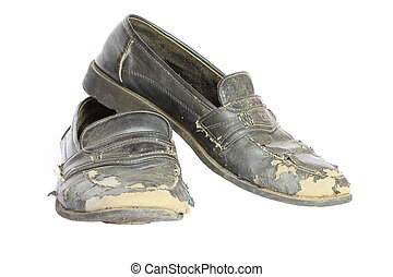 Old shoes on a white background.