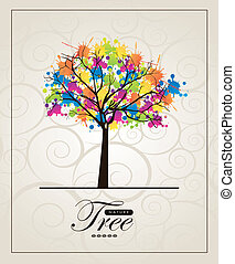 Abstract tree over vintage background vector illustration