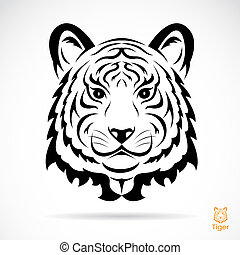 Tiger head silhouette Vector illustration isolated on white...