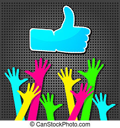 "Happy hands with ""Like"" symbol"